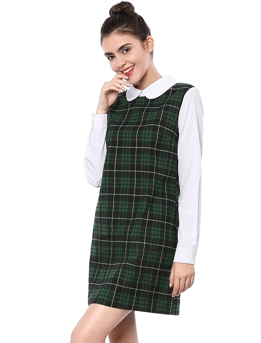 b4614bac1a Allegra K Women s Contrast Peter Pan Collar Long Sleeve Shift Plaid Dress  at Amazon Women s Clothing store