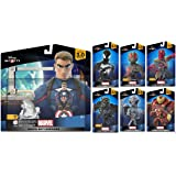 Disney Infinity 3.0 Marvel Battlegrounds Playset Themed Bundle Captain America, Black Suit Spiderman, Black Panther…
