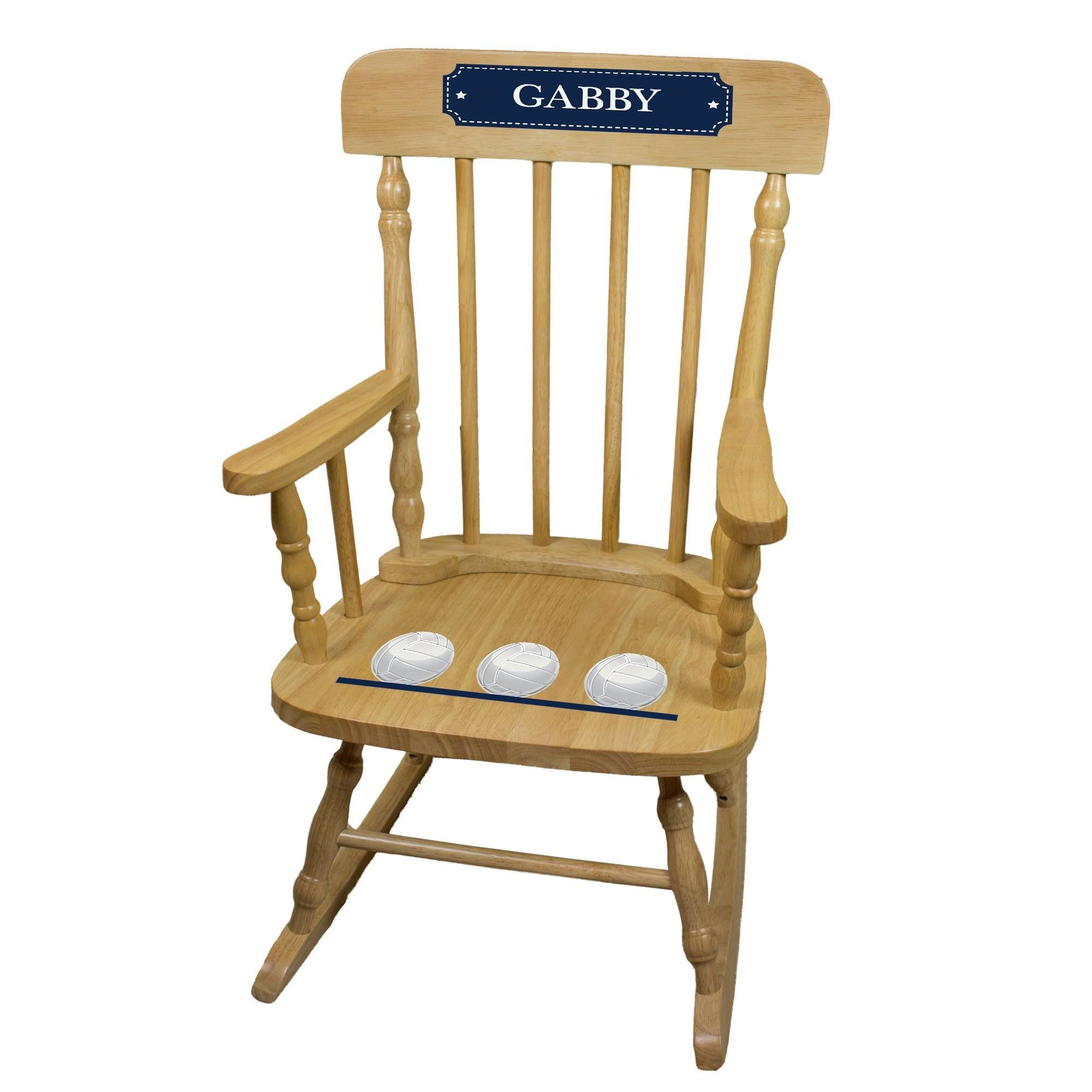 MyBambino Personalized Volleyballs Natural Wooden Childrens Rocking Chair