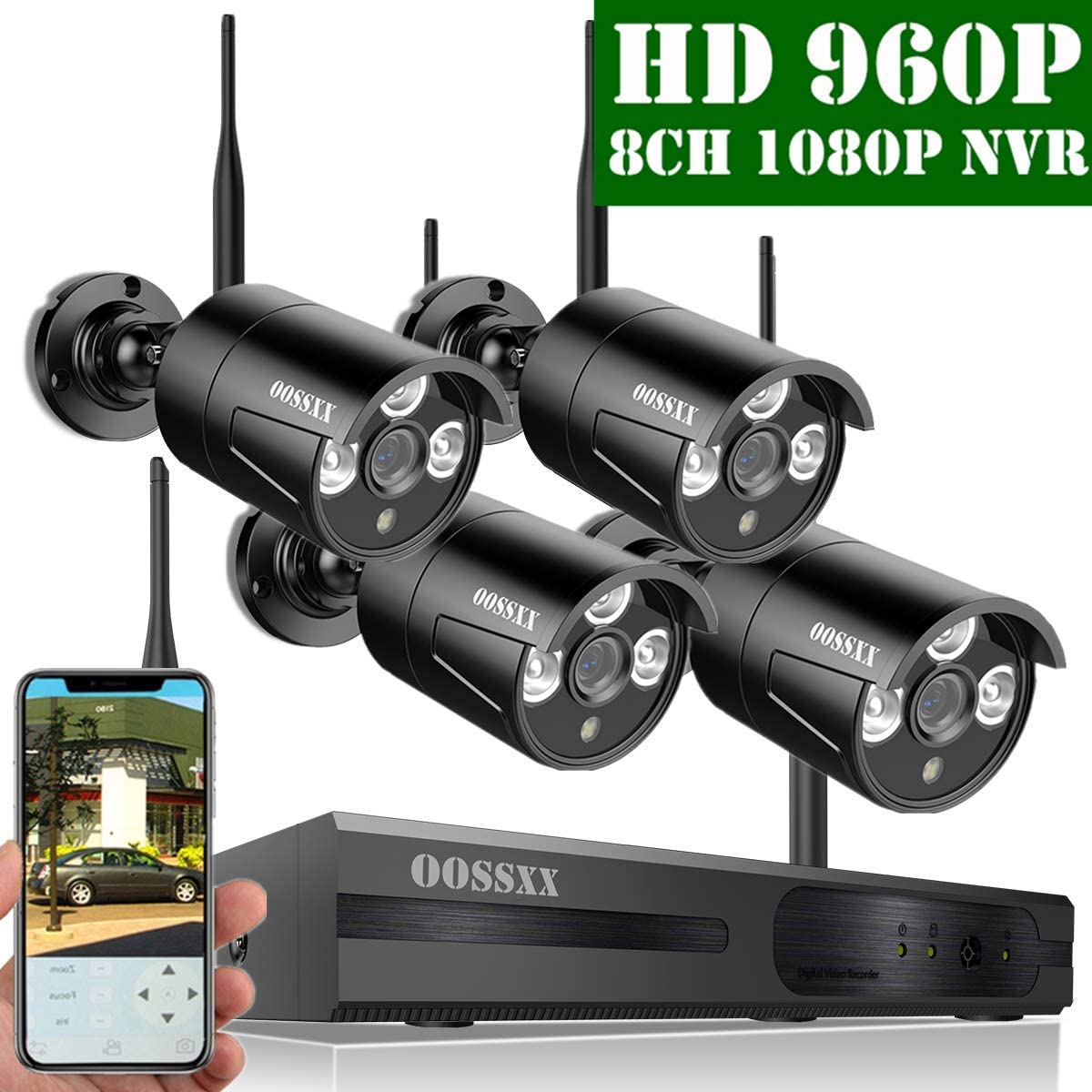 OOSSXX 8-Channel HD 1080P Wireless Network IP Security Camera System IP Wireless WiFi NVR Kits ,4Pcs 960P 1.3 Megapixel Wireless Indoor Outdoor IR Bullet IP Cameras,P2P,App,No Hard Drive