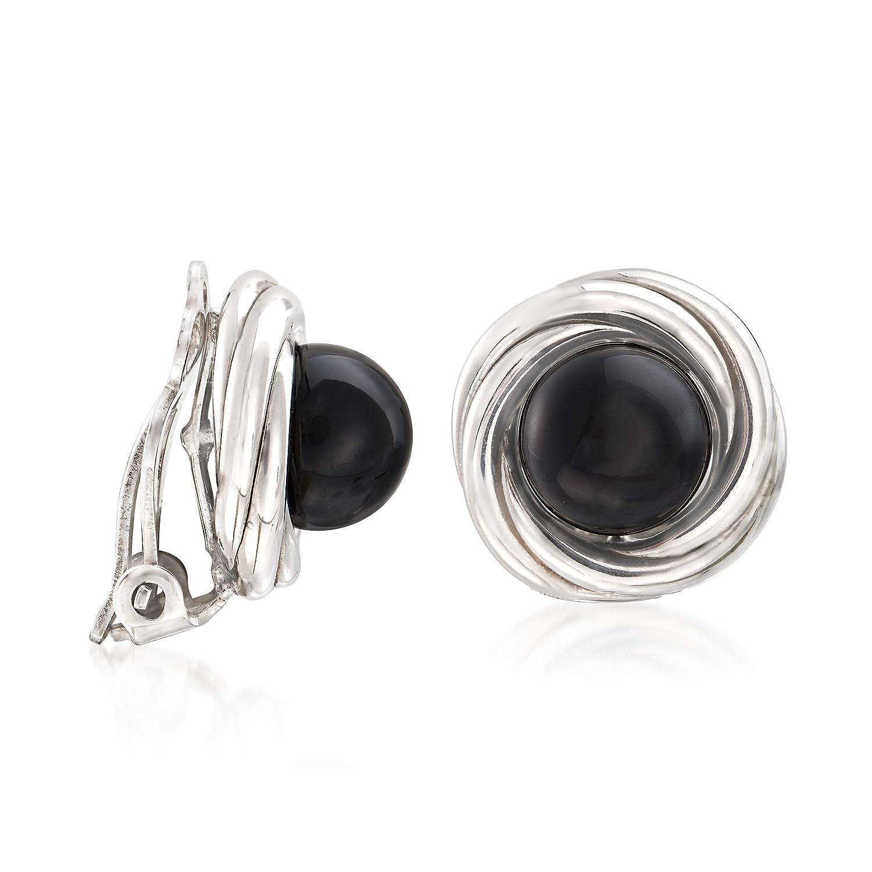 Ross-Simons 8mm Black Onyx Clip-On Earrings in Sterling Silver