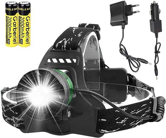 ShineTool - Linterna frontal LED (3000 lúmenes, 3 modos, muy alta, USB, recargable, zoom, resistente al agua, con 2 pilas, para camping, senderismo, ...