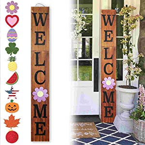 Outdoor Welcome Sign for Front Porch Decor, InterchangeableSeasonal Icons Vertical Welcome Sign, Modern Farmhouse Decor for The Home, Wooden Welcome Sign Rustic Brown (9.5