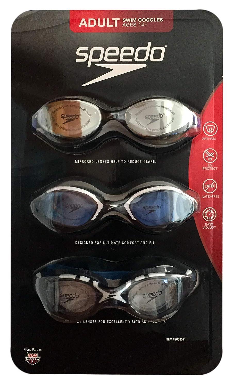 Speedo 3 Pack Adult Swimming Goggles
