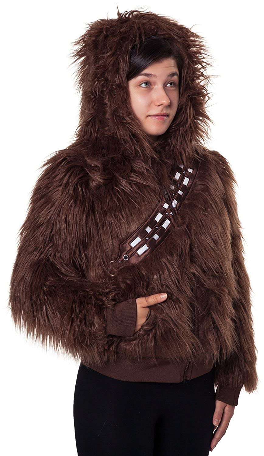Amazoncom Ladies Star Wars Chewbacca Faux Fur Zip Hoodie Clothing - Hoodie will turn you into chewbacca from star wars