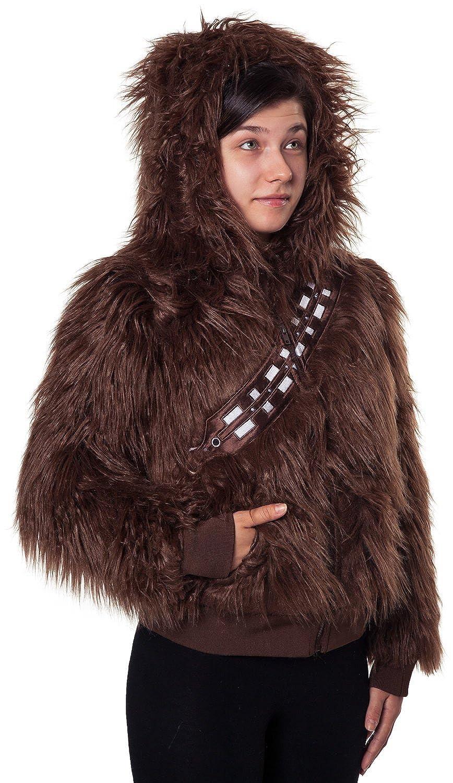Amazoncom Ladies Star Wars Chewbacca Faux Fur Zip Hoodie Clothing - Hoodie will turn you into chewbacca from star wars