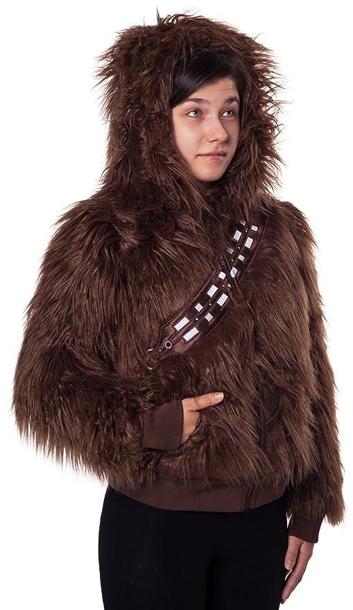 Amazon Com Ladies Star Wars Chewbacca Faux Fur Zip Hoodie Clothing