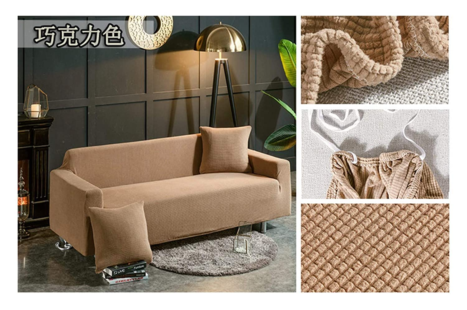 4seat VGUYFUYH Khaki Skid-Proof Sofa Cover Polyester Full Package Elasticity Home Versatile Sofa Cover Simple Fashion One Piece Durable Dustproof Pet Dog Predective Cover,4Seat