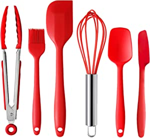 SELCOUTH 6 Piece Silicone Spatula Scraper Set w/Kitchen Tongs, Whisk & Pastry Brush 480? High Heat Resistant Jar Spoon Spatula, Nonstick One-Piece Design Easy Clean, Red