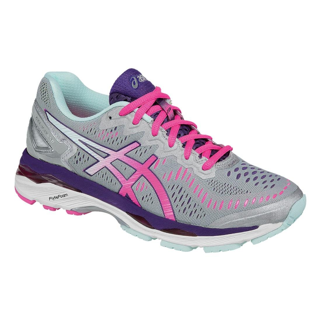 ASICS Women's Gel-Kayano 23 Running Shoe, Silver/Pink Glow/Parachute Purple, 9 M US