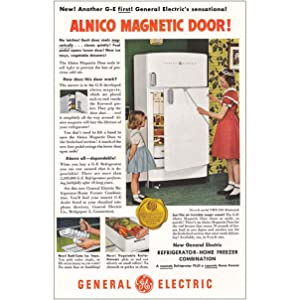 1950 General Electric Refrigerator: Little Girls, Prin, General Electric Print Ad