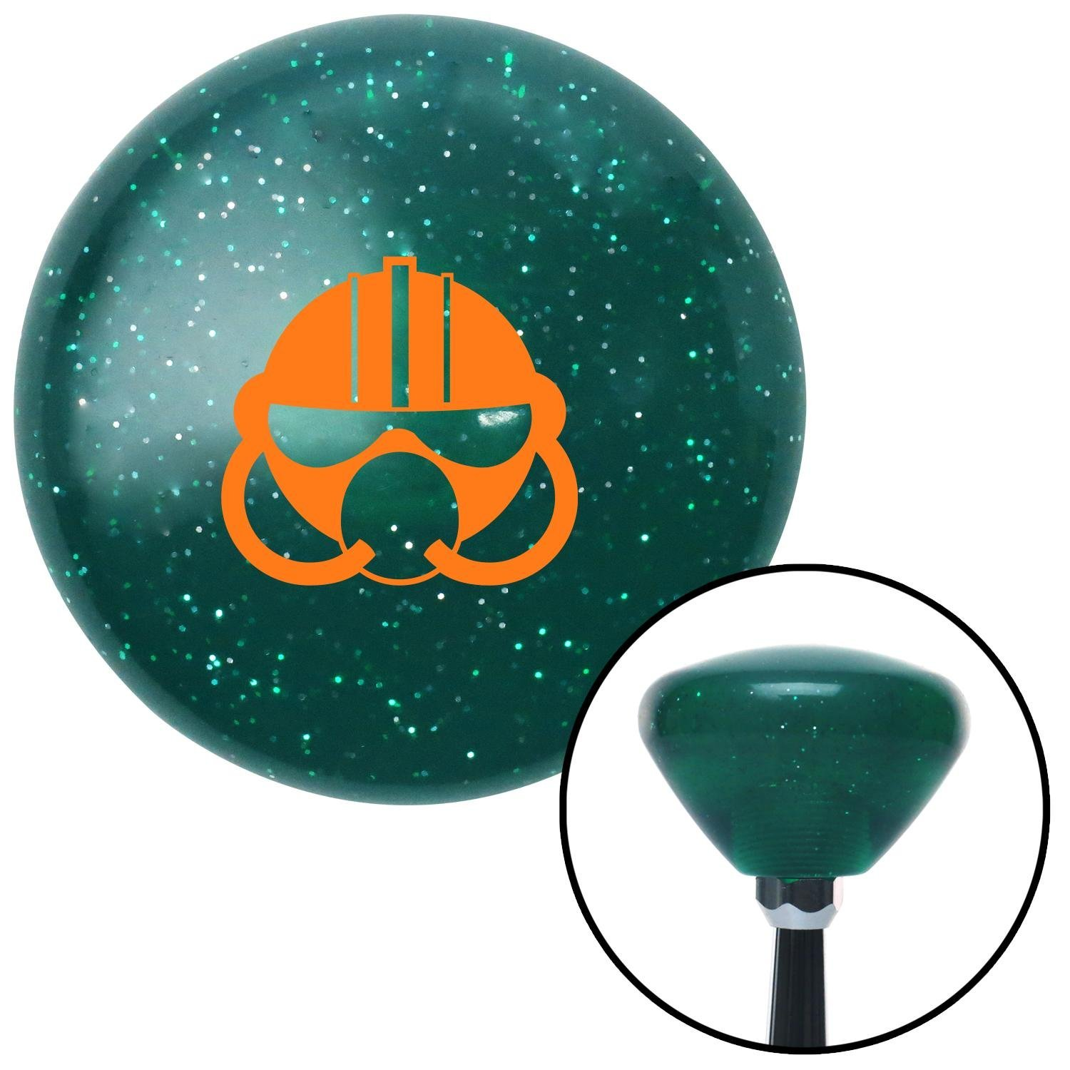 Orange Gas Mask American Shifter 204068 Green Retro Metal Flake Shift Knob with M16 x 1.5 Insert