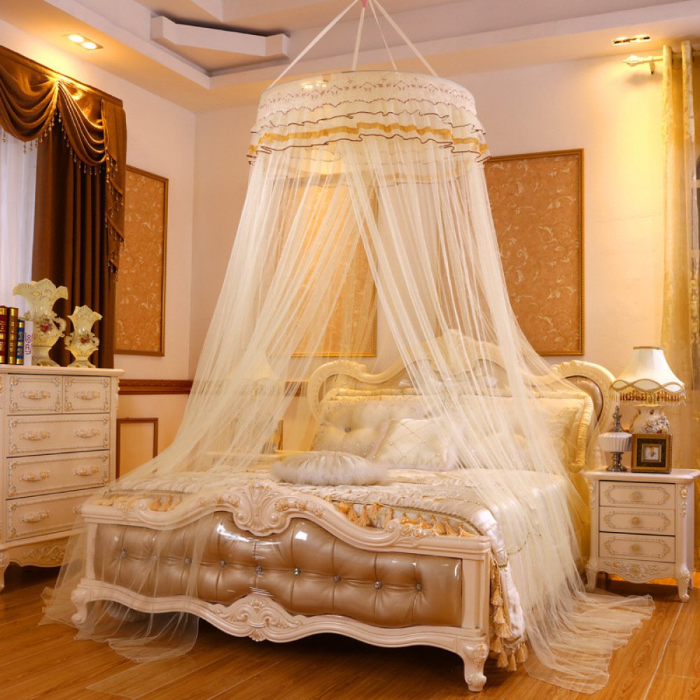 Lustar Princess Lace Mosquito Net Bed Canopy for Children Fly Insect Protection Indoor Decorative Height 2.8m Top Diameter 0.6-1m,Yellowb
