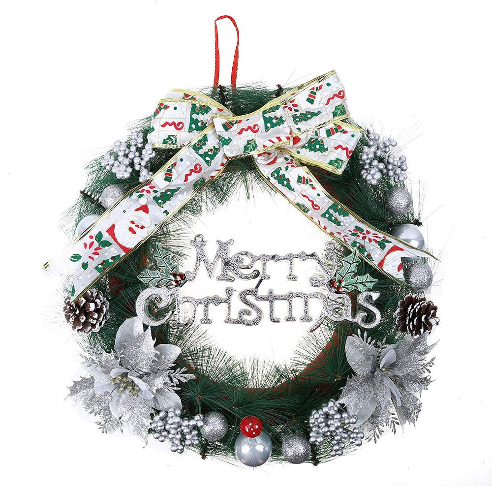 Promisen Christmas Wreath,30CM Merry Christmas Decorated Pine Wreath with Color Balls,Pine Cones, Artificial Garland Holiday Wreath for Christmas Party Decor, Front Door Wreath (Silver)