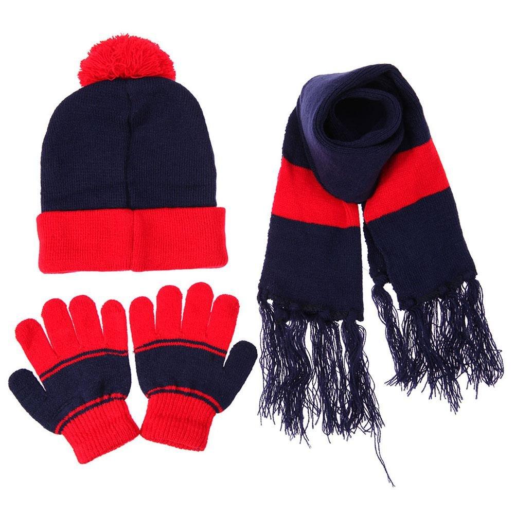 Domybest 3pcs Children Kids Hat Scarf Gloves Sets Baby Boys Girls Fashion Autumn Winter Warm Hat and Mittens Set