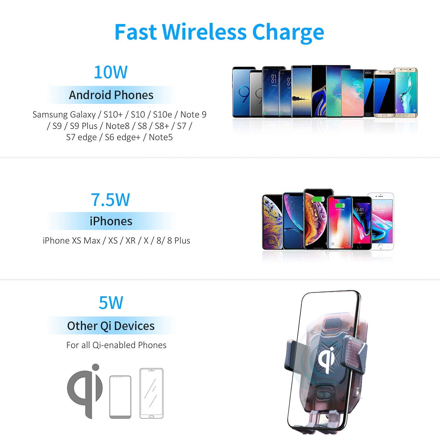 Compatible with iPhone Xs Max XR 8 Samsung S10 Note 9 NEWekey Wireless Car Charger Mount Auto Clamping 10W Qi Fast Charging Wireless Charger for Car Air Vent Phone Holder with Atmosphere Light