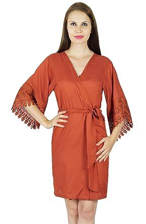 be5e7a339b Bimba Women Short Rayon Robe Lace Sleeve Getting Ready Wrap Bridesmaid  Gift- Brown