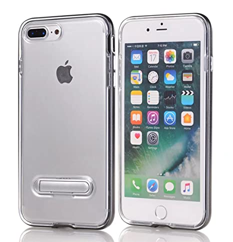 Funda iPhone 7 Plus Silicona Gris Cobre parachoque TPU Transparente Claro Brillante Super Delgado Suave Carcasa de telefono Protección por JOYTAG