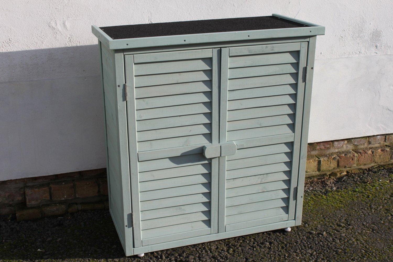 Cabina al aire libre para almacenaje de madera en el Jardín o cobertizo para herramientas - En verde salvia -: Amazon.es: Hogar