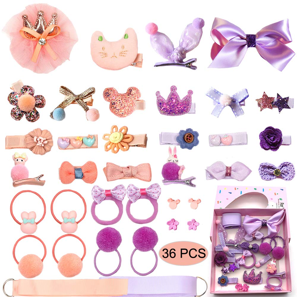 Baby Girl's Hair Clips Cute Hair Bows Baby Elastic Hair Ties Hair Accessories Ponytail Holder Hairpins Set For Baby Girls Teens Toddlers, Assorted styles, 36 pieces Pack (PH0053C)