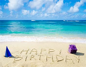 AOFOTO 9x7ft Happy Birthday Written On The Beach With Gift Box Backdrop Summer Holiday Leisure Travel