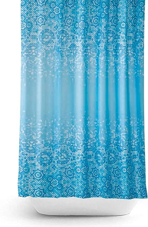 Zethome 180x200 cm Azul Cortina de Ba/ño Impreso Original Antimoho Impermeable Lavable Antibacteriana Poliester Tela con Anillas de Cortina Ducha Estiloso Bano Moderno