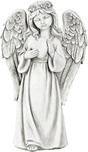 KINBEDY Guardian Angel Figure, Big Wings Praying Cherub Statue Garden LED Light, Resin and Stone 18.2'' H ,Indoor Outdoor Home Garden Decoration, for Friends, Heart.