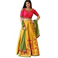 Mr Fashion Women's Silk Lehanga Choli (South India _Multi-Coloured_ Free Size)