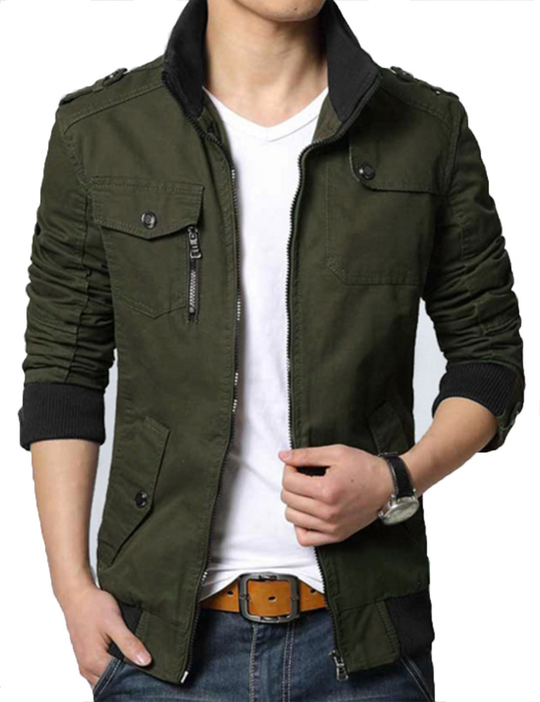 XueYin Men's Solid Cotton Casual Wear Stand Collar Jacket?Dark Army Green,M Size