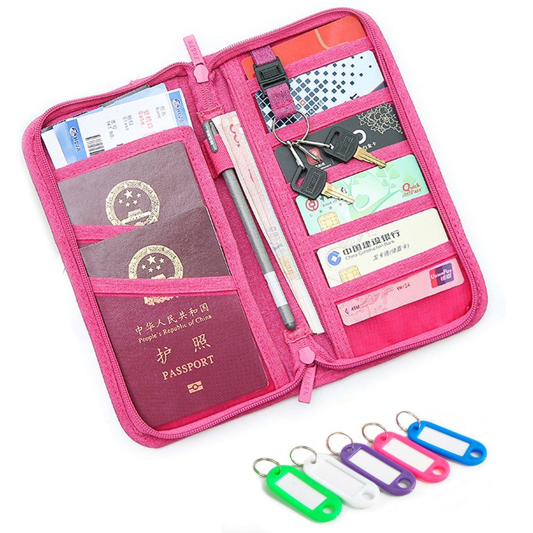 NEWANIMA Fashion Leather Women Phone Passport Holder Envelope multifunction wallet (Style2-Rose)