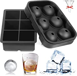 Silicone Ice Cube Trays Set of 2 Sphere Ice Ball Maker With Lid & Large Square Molds For Beverages Cocktails and Bourbon Whiskey, Black
