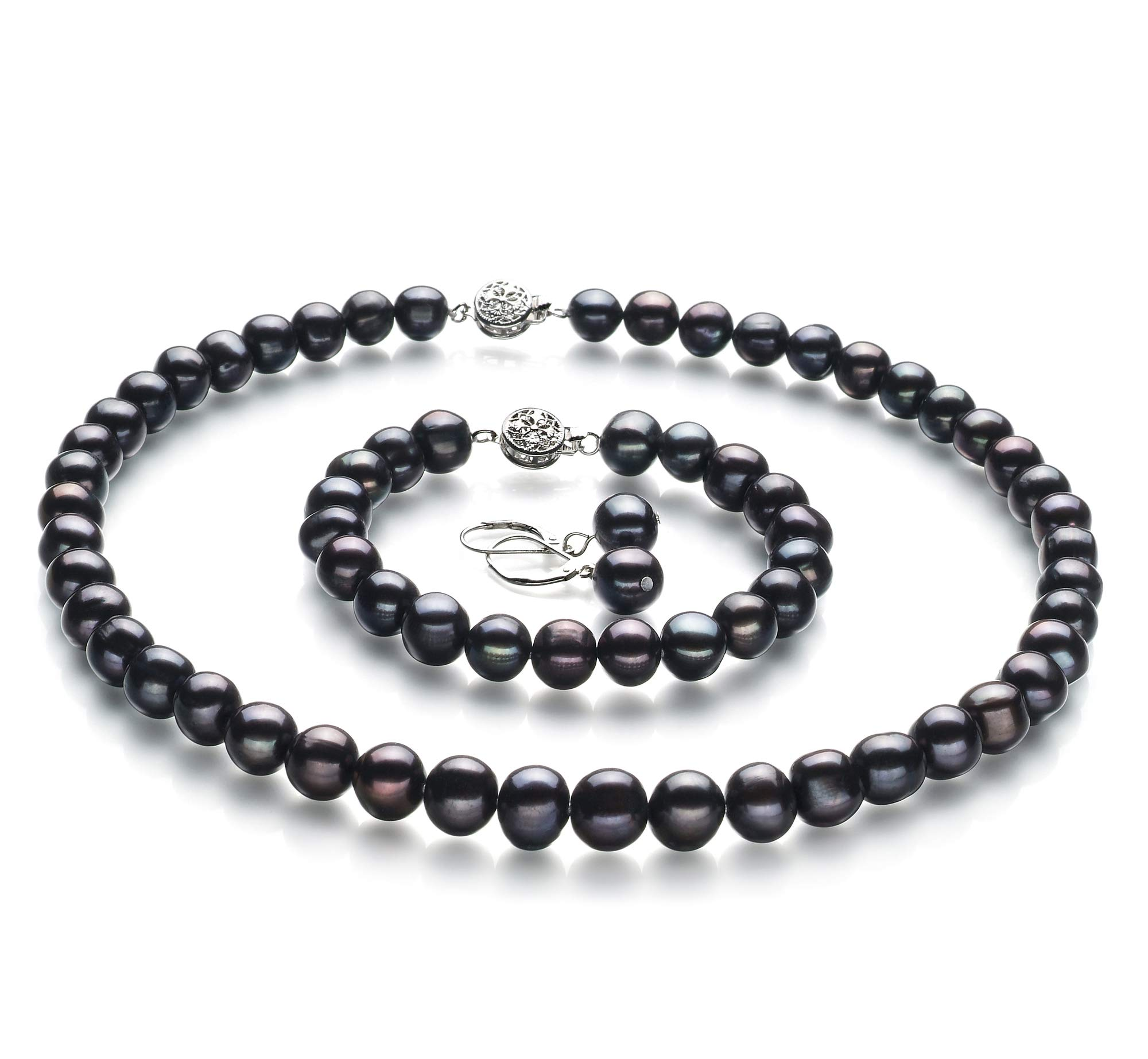 Kaitlyn Black 8-9mm A Quality Freshwater 925 Sterling Silver Cultured Pearl Set For Women-16 in Chocker length