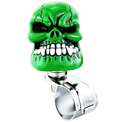 Lunsom Skull Shape Steering Wheel Spinner Resin Driving Power Handle Control Grip Booster Suicide Knob Car Turning Aid Helper Fit Universal Vehicle (Green): Automotive