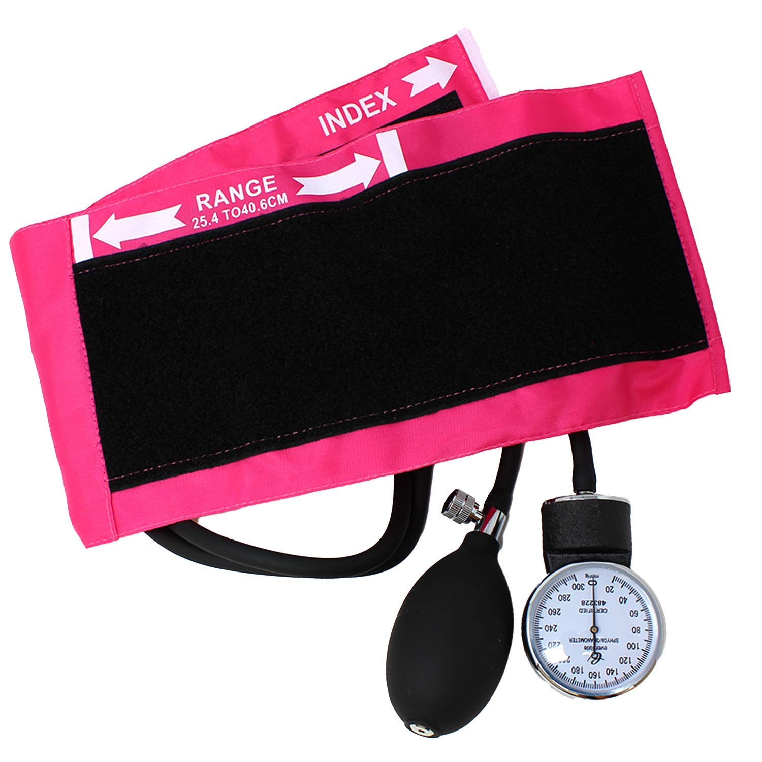 Dixie EMS Deluxe Aneroid Sphygmomanometer Blood Pressure Set W/ Adult Cuff, Carrying Case and Calibration Tool - Pink