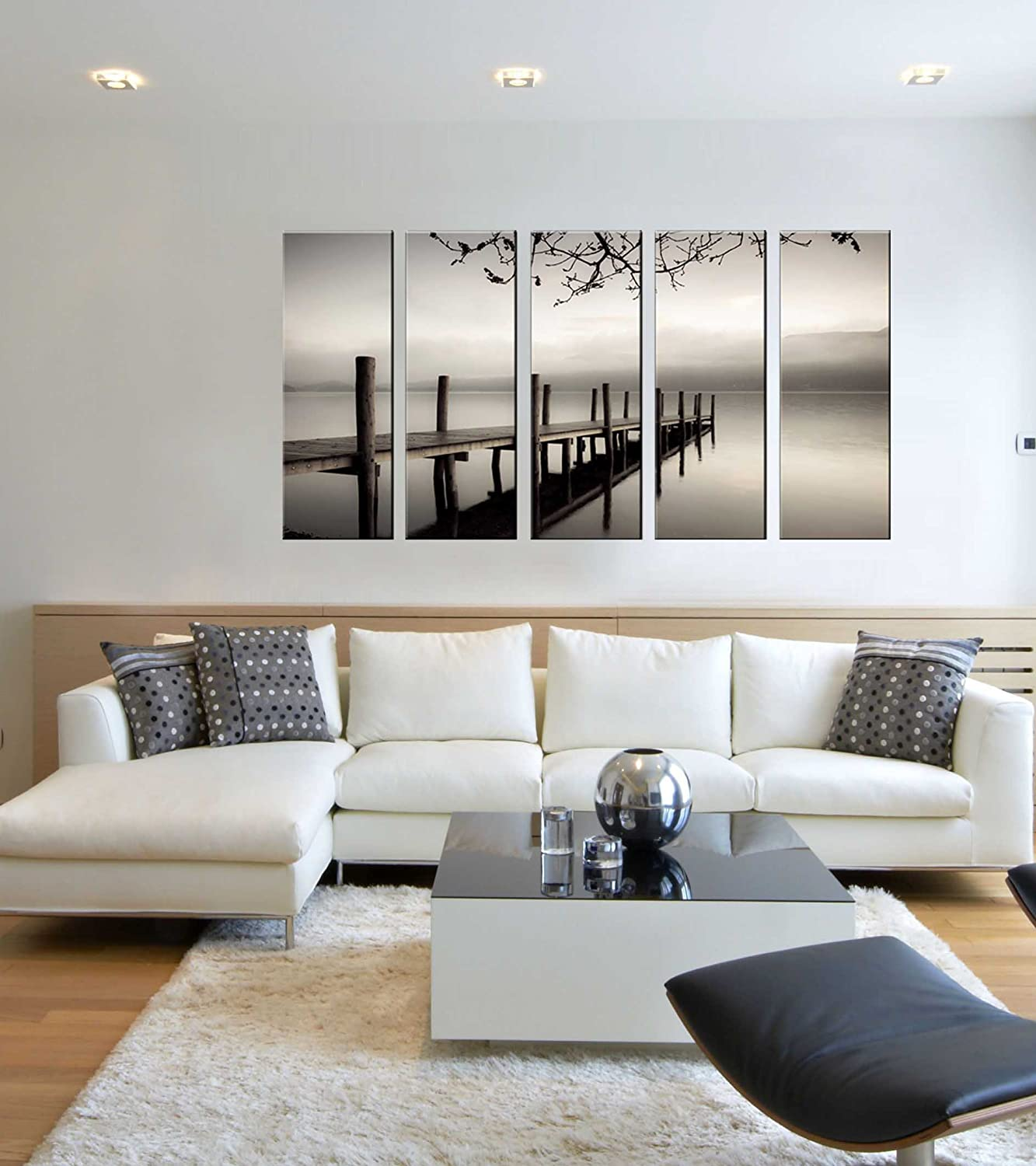 Amazon.com: Black and white sea lake canvas prints, lake bridge ...