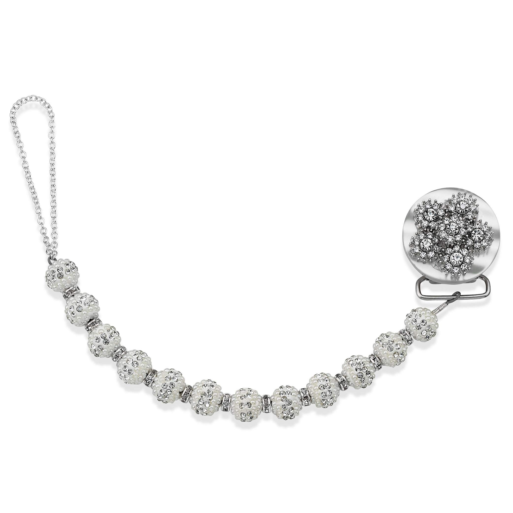 Exquisite Luxury Crystal Flower Pacifier Clip, Dummy Holder Chain, 8 inch (CRSF) by Toother