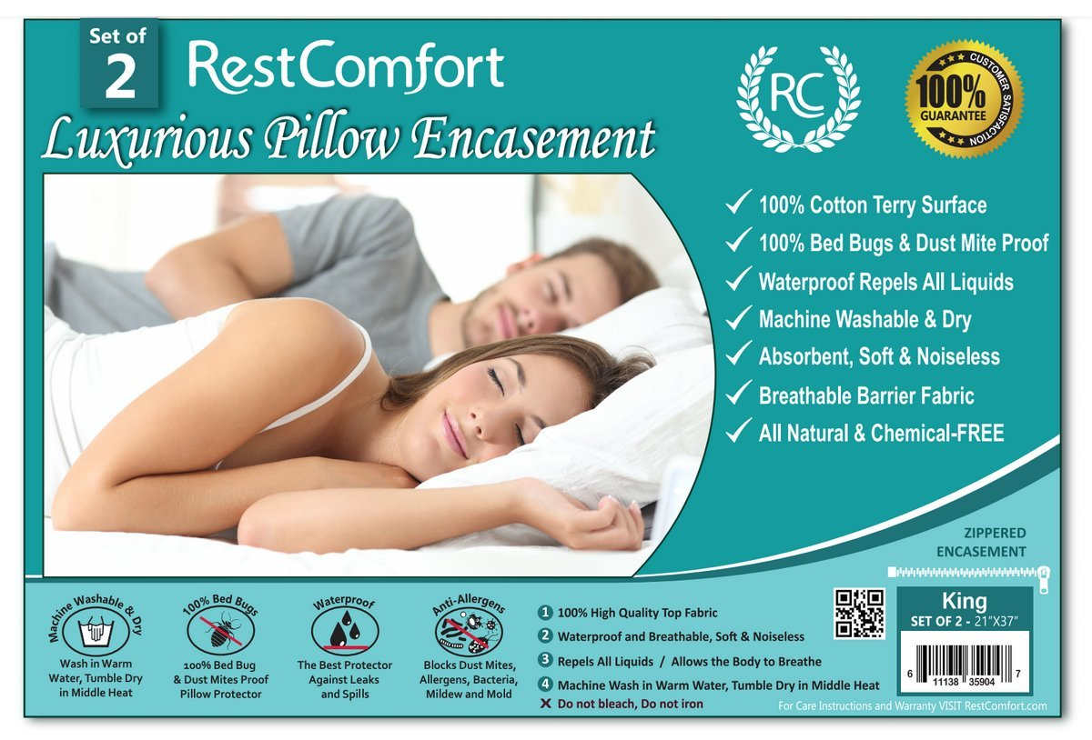 Set of 2 Cotton Terry Pillow Protectors, Bed Bug & Dust Mite Bacteria, Allergy Proof / Waterproof Hypoallergenic Breathable & Quite - Zippered Pillow Encasement, RestComfort (King 21''×37'', White)
