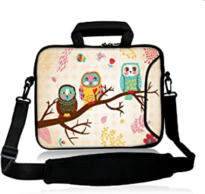 "iColor 15"" Laptop Shoulder Bag 14.1"" 14.2"" 15.6"" Inch Neoprene Laptop Messenger Bag 15.4"" Notebook Computer Dual Zipper Case Cover Pouch Holder Pocket-OWL"