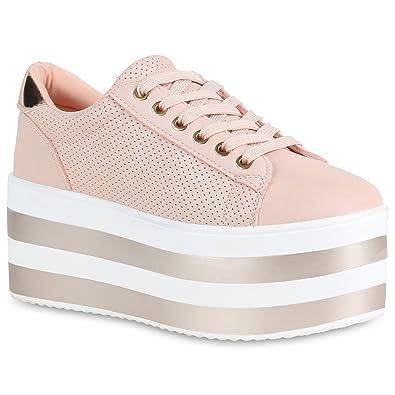 Damen Plateau Sneaker Metallic Lack Schuhe High Heel Plateauschuhe 155483 Rosa 37 Flandell qWcZyJ
