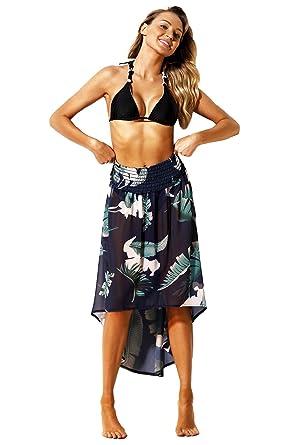d87d3665177b1 BINLIANG Women Sexy Tropical Leaf Print Navy Convertible Beach Dress Skirt  Bikini Swimsuit Bottom Top Cover