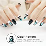 False Nails Coffin Shape with Designs 24 Pieces Full Cover Ballerina Girls Fake Nails