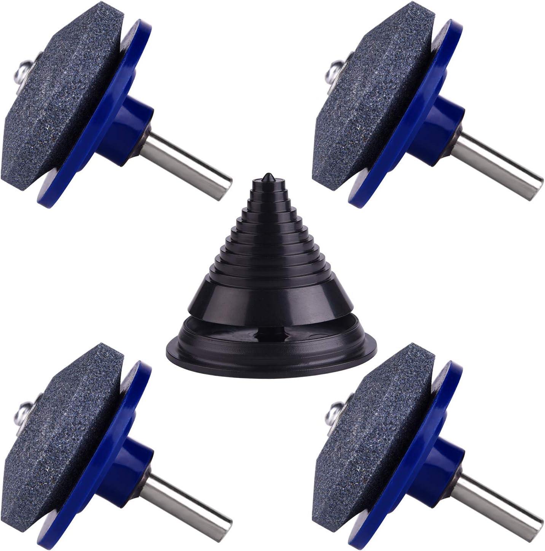 TUPARKA 4 Pieza Cortacésped Afilador de cuchillas con 1 pieza de kit de equilibrador de cuchillas para cortacésped, piedra de la rueda de amoladora para la mayoría del taladro eléctrico