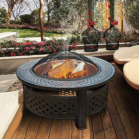 Sunlike al aire libre 3 en 1 multifuncional metal pozo de fuego, Jardín Barbacoa Fogón de mesa redonda brasero de leña Patio Calentador, Negro: Amazon.es: Hogar