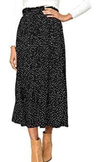 abcb084ef RichCoco Women's Casual High Elastic Waist A Line Print Pleated Pockets  Vintage Dresses Polka Dot Midi