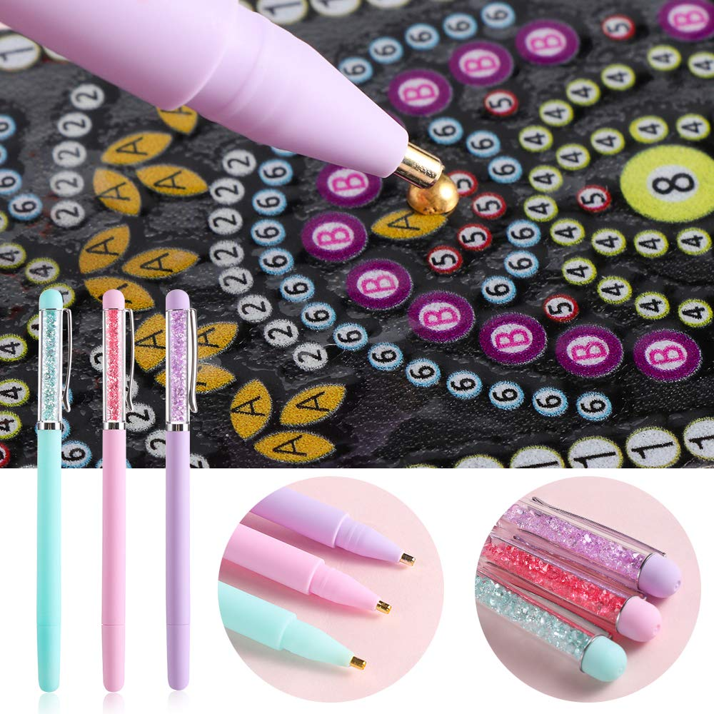 Purple thanksky Crystal 5D Diamond Painting Pen DIY Point Drill Crafts,Embroidery Pens,Sewing Cross Stitch Accessories 1pc
