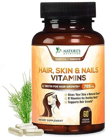 Hair Skin Nails High Potency Biotin Vitamin Complex Best Hair Vitamins Made In Usa Vitamin C E For Faster Hair Growth Glowing Skin
