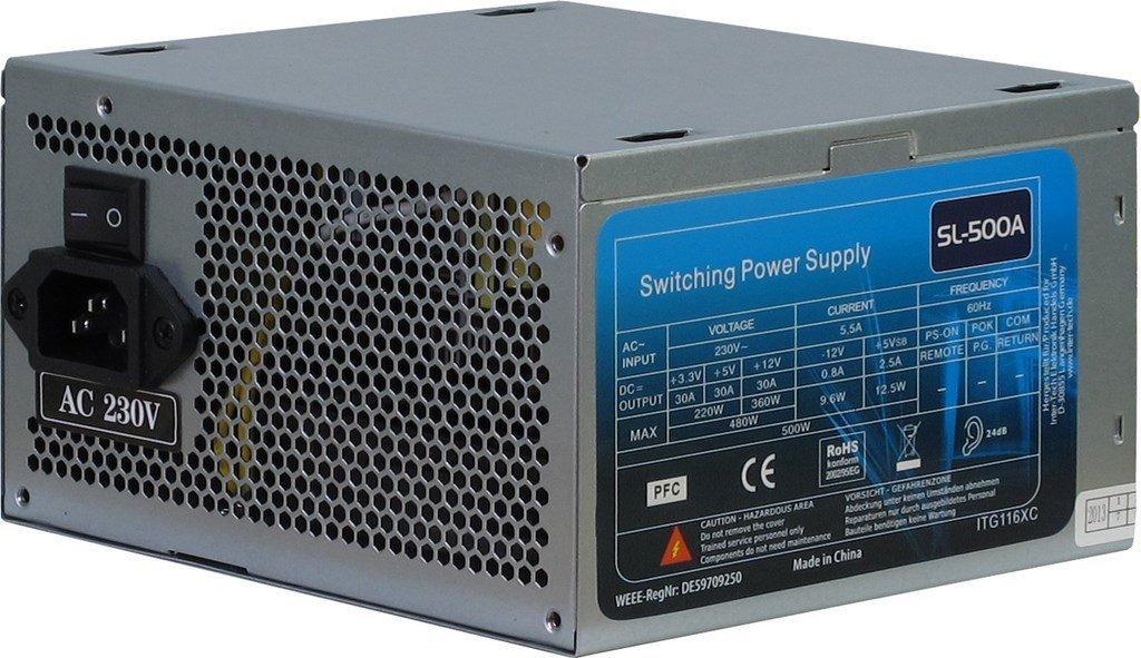 500 Watt ATX Alimentatore di rete Super Silent ventola 120 mm 19-25 db PC-alimentatore di rete 4 x S-ATA con adattatore Molex su S-ata