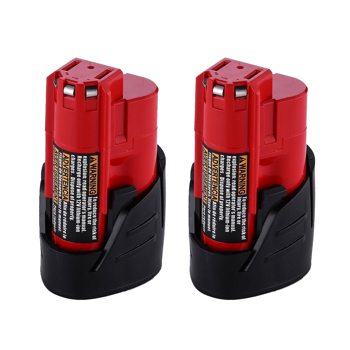 Replacement M12 battery for Milwaukee 12V Battery 2.5Ah 48-11-2402 48-11-2440 48-11-2411 M12 XC Cordless Drill 2Packs