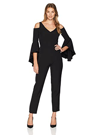 4df6d40eead Maggy London Women s Cold Shoulder Solid Crepe Jumpsuit at Amazon Women s  Clothing store