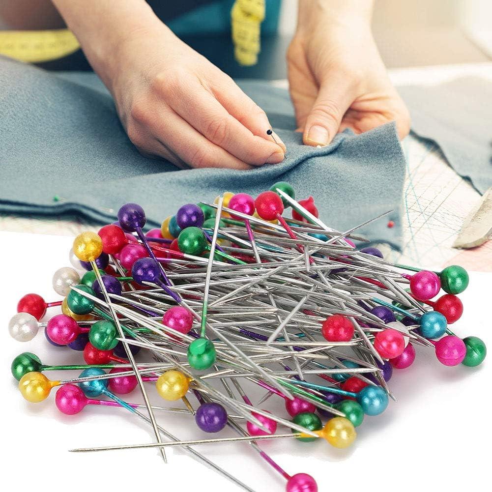 1000 Uds alfileres con cabeza de perla alfileres de cabeza de perla sint/ética agujas de posicionamiento rectas para hacer joyas DIY coser decoraciones de flores de boda